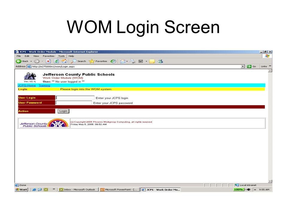 WOM Login Screen