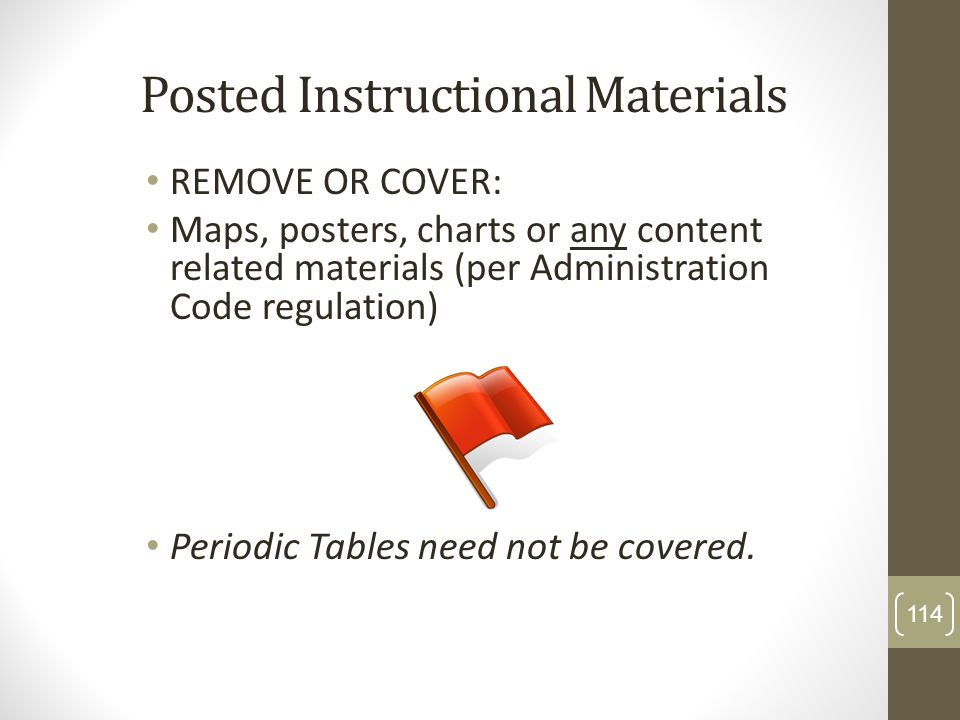 Posted Instructional Materials REMOVE OR COVER: Maps, posters, charts or any content related materials (per Administration Code regulation) Periodic T