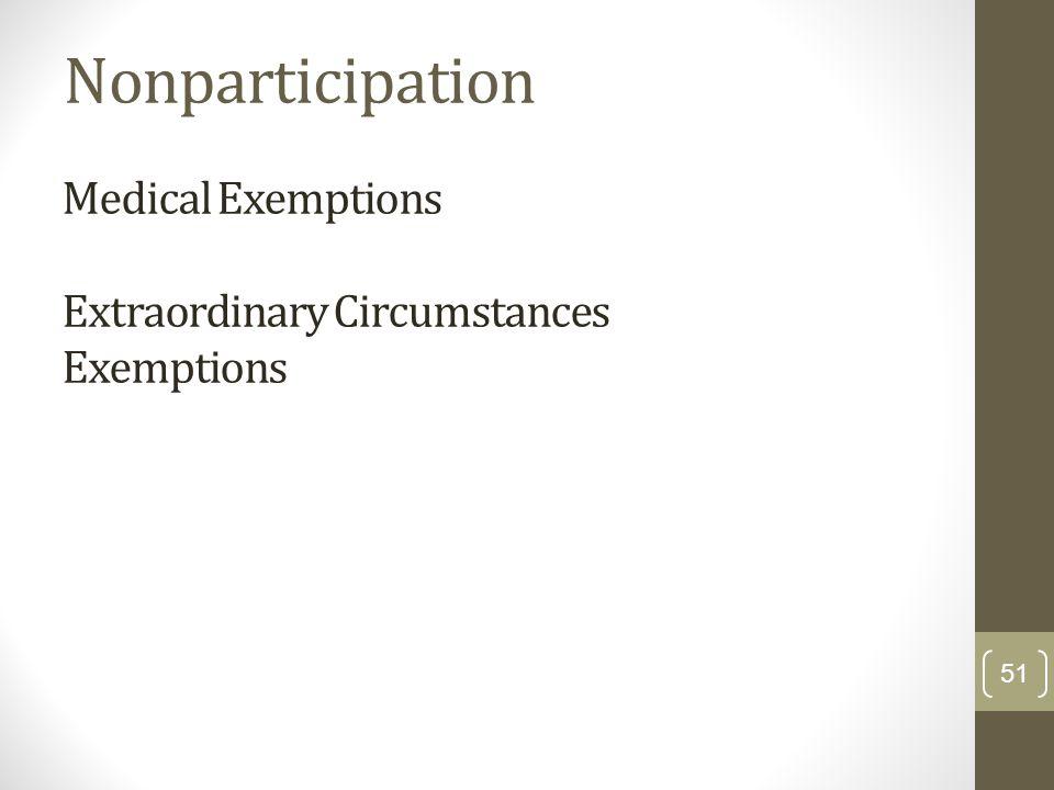 Medical Exemptions Extraordinary Circumstances Exemptions Nonparticipation 51