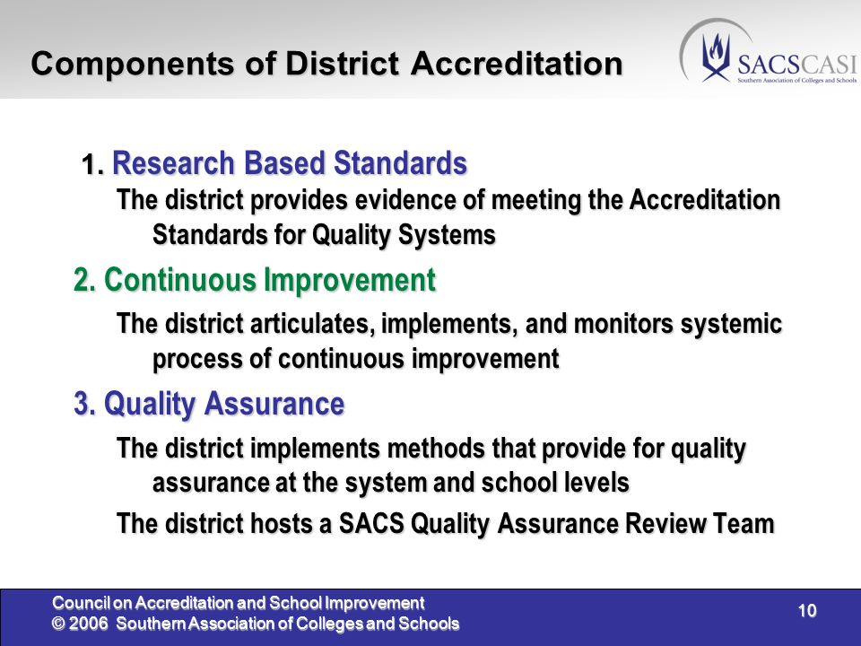 10 Council on Accreditation and School Improvement © 2006 Southern Association of Colleges and Schools Components of District Accreditation 1. Researc
