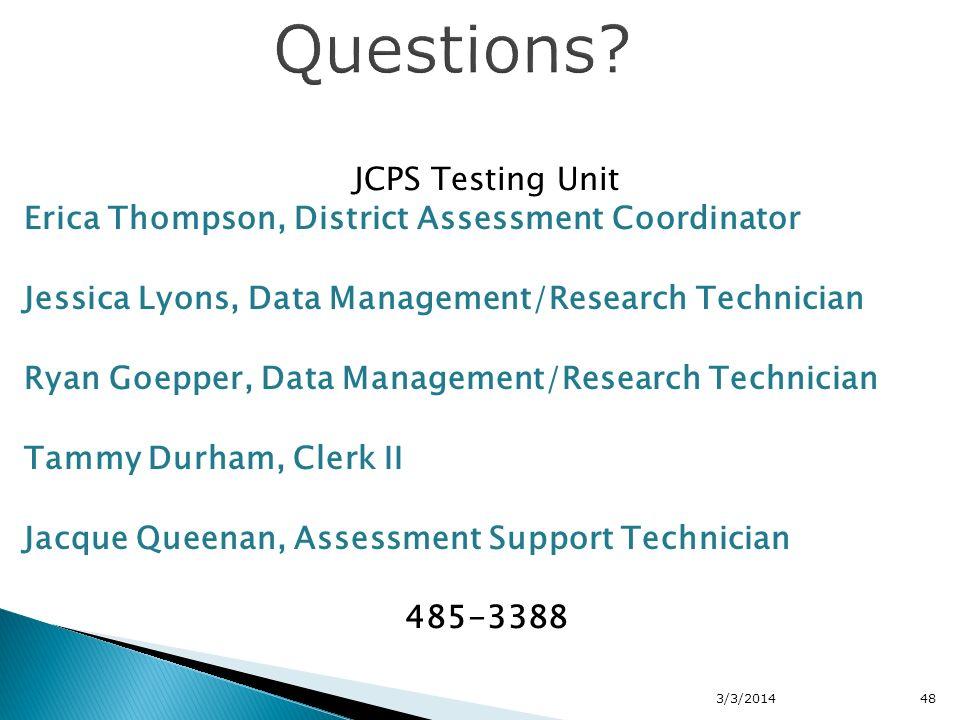 JCPS Testing Unit Erica Thompson, District Assessment Coordinator Jessica Lyons, Data Management/Research Technician Ryan Goepper, Data Management/Res