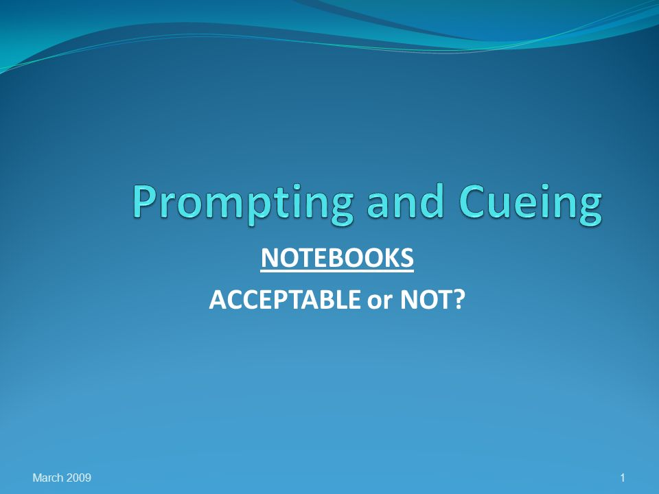NOTEBOOKS ACCEPTABLE or NOT March 20091