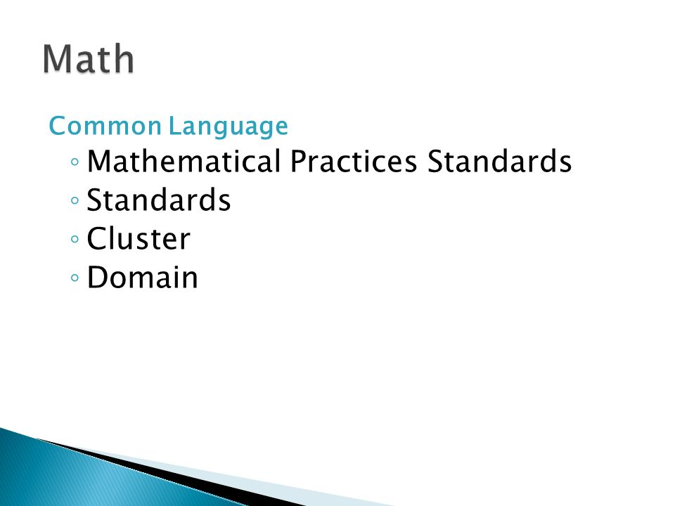 Common Language Mathematical Practices Standards Standards Cluster Domain