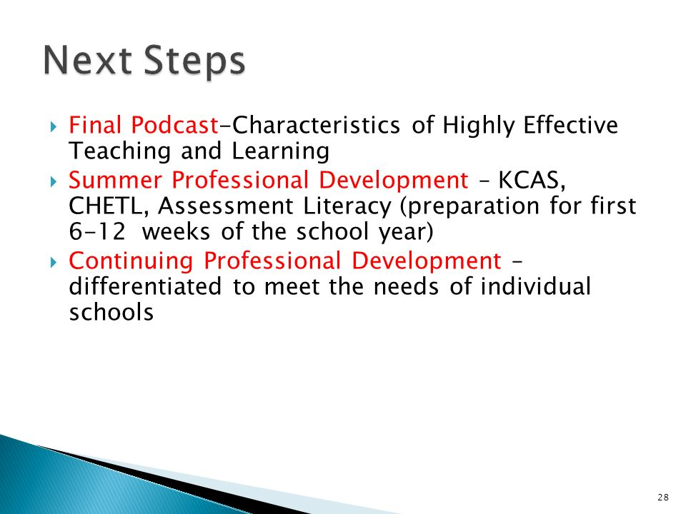 Final Podcast-Characteristics of Highly Effective Teaching and Learning Summer Professional Development – KCAS, CHETL, Assessment Literacy (preparatio