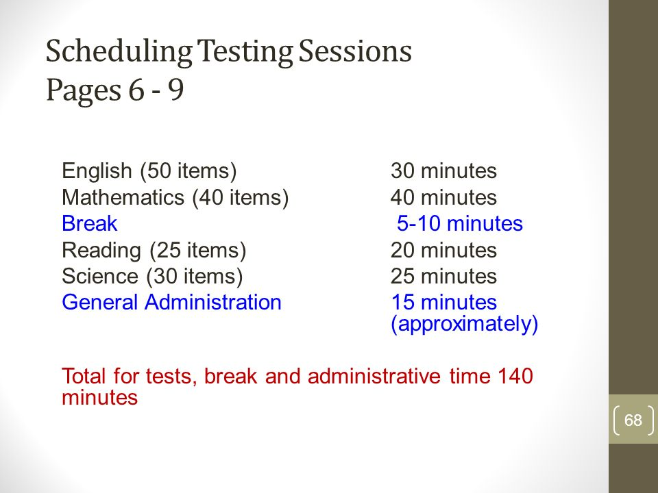 Scheduling Testing Sessions Pages 6 - 9 English (50 items) 30 minutes Mathematics (40 items) 40 minutes Break 5-10 minutes Reading (25 items) 20 minut