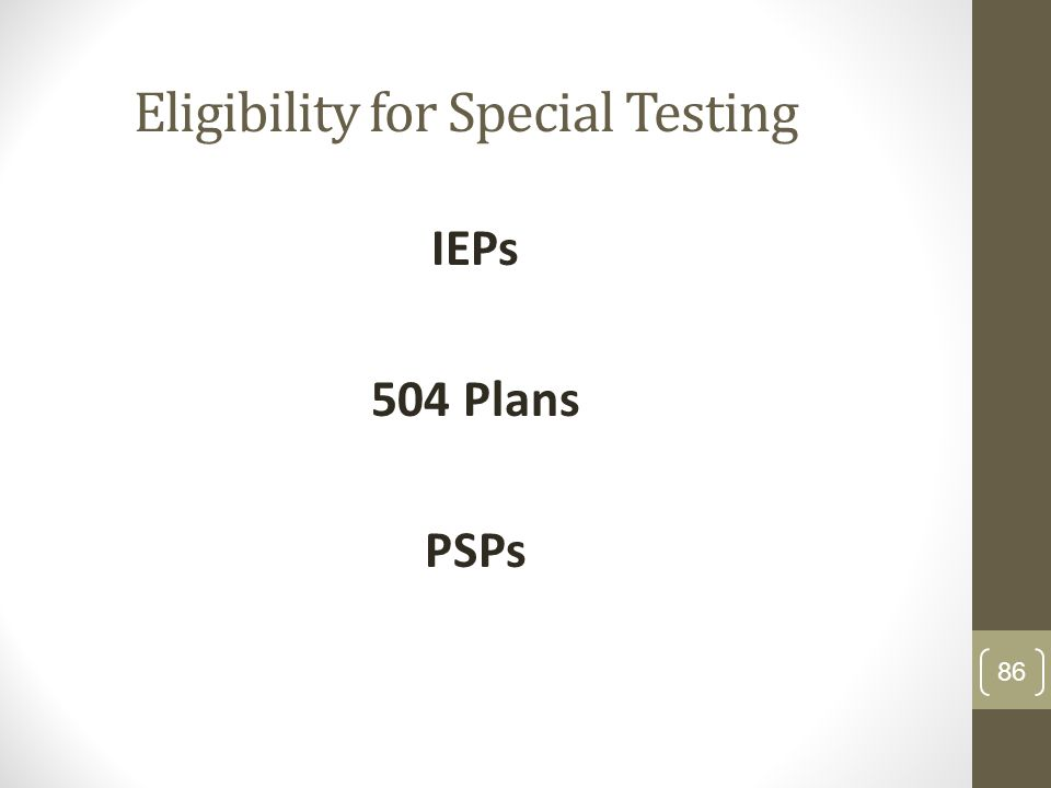 Eligibility for Special Testing IEPs 504 Plans PSPs 86