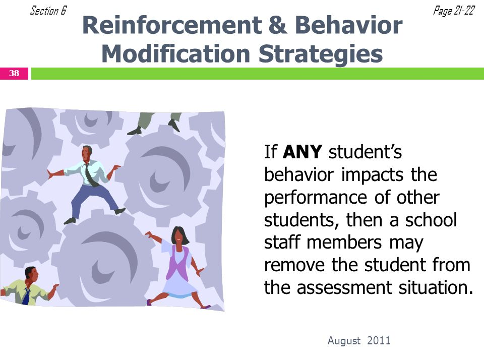 Reinforcement & Behavior Modification Strategies If ANY students behavior impacts the performance of other students, then a school staff members may r