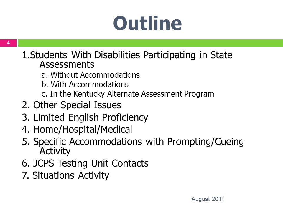 Outline 1.Students With Disabilities Participating in State Assessments a. Without Accommodations b. With Accommodations c. In the Kentucky Alternate