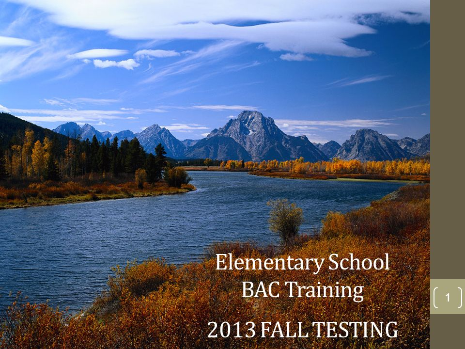 1 Elementary School BAC Training 2013 FALL TESTING