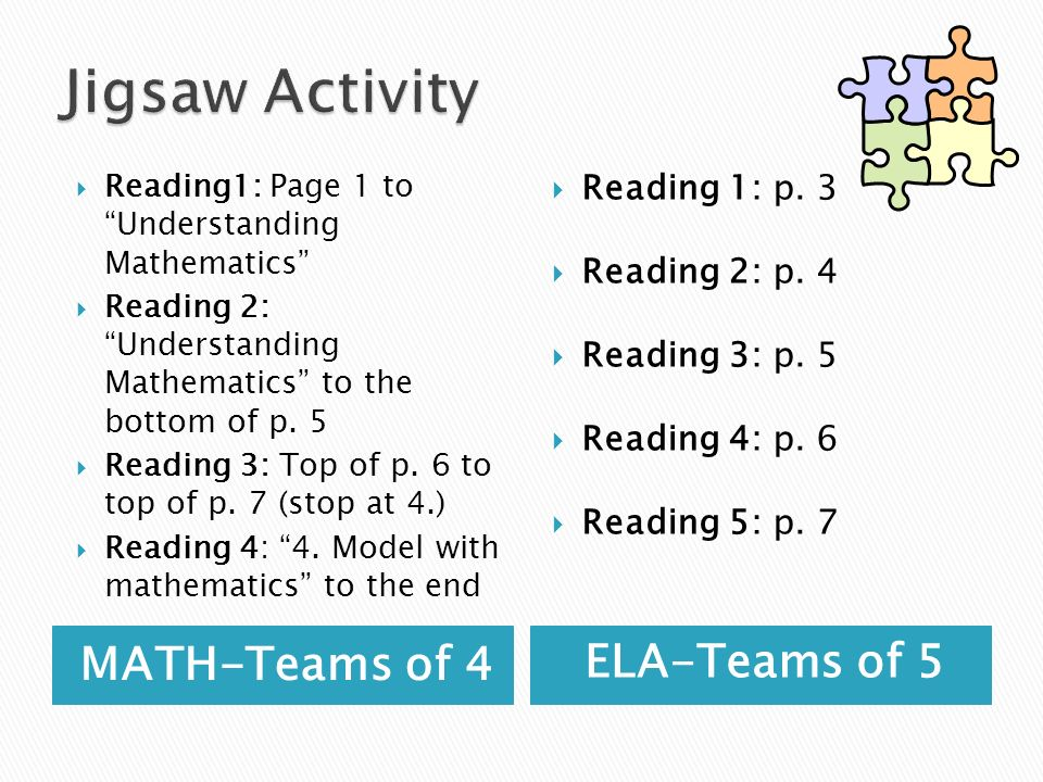 MATH-Teams of 4 ELA-Teams of 5 Reading1: Page 1 to Understanding Mathematics Reading 2: Understanding Mathematics to the bottom of p. 5 Reading 3: Top