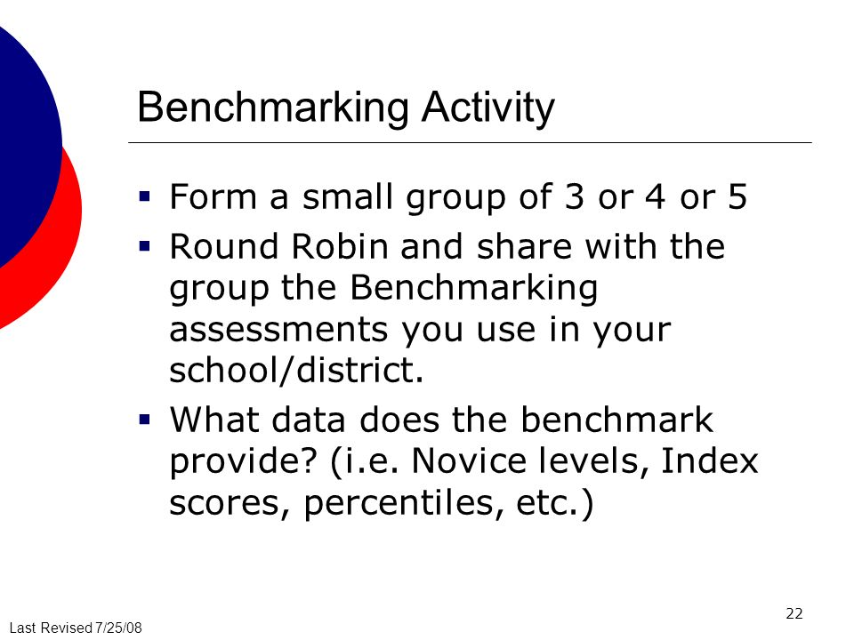Last Revised 7/25/08 22 Benchmarking Activity Form a small group of 3 or 4 or 5 Round Robin and share with the group the Benchmarking assessments you