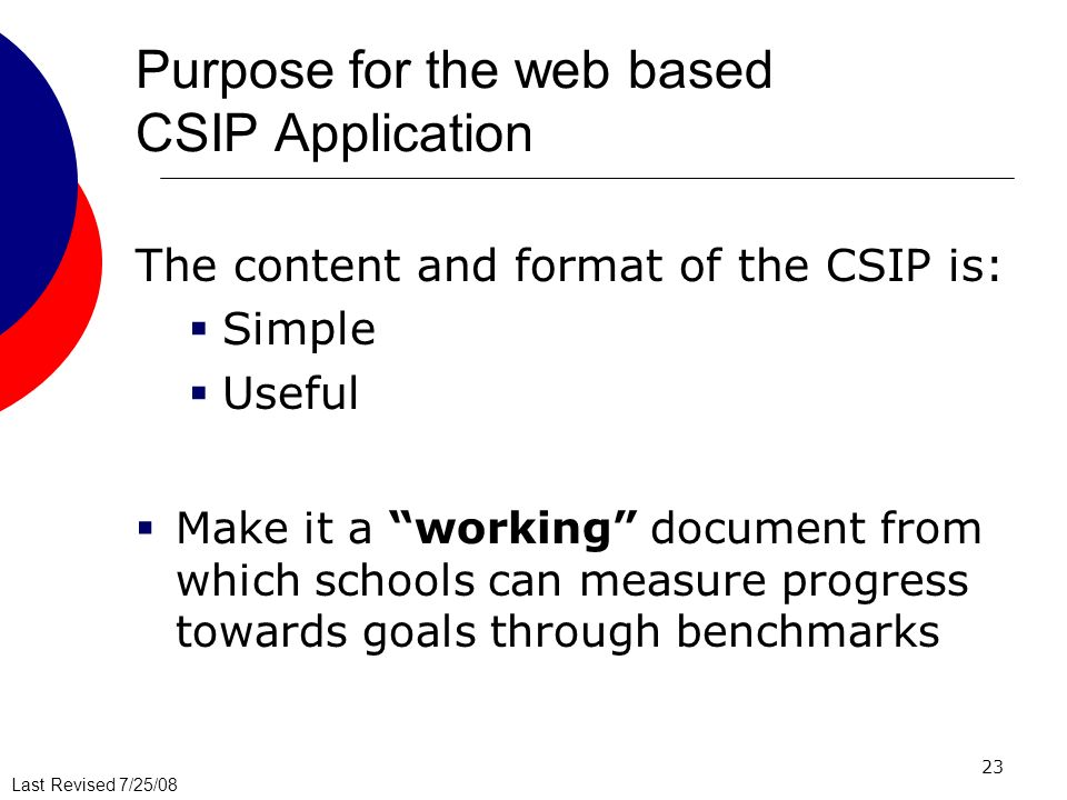 Last Revised 7/25/08 23 Purpose for the web based CSIP Application The content and format of the CSIP is: Simple Useful Make it a working document fro