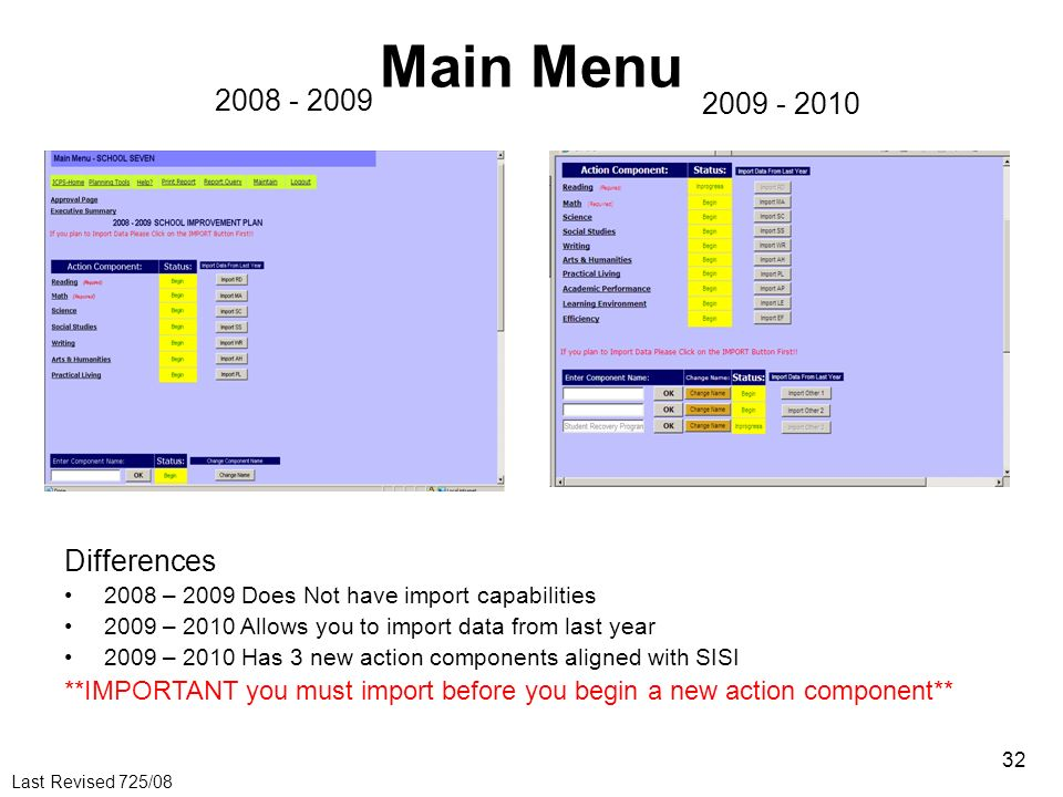 Last Revised 725/08 32 Main Menu 2008 - 2009 2009 - 2010 Differences 2008 – 2009 Does Not have import capabilities 2009 – 2010 Allows you to import da