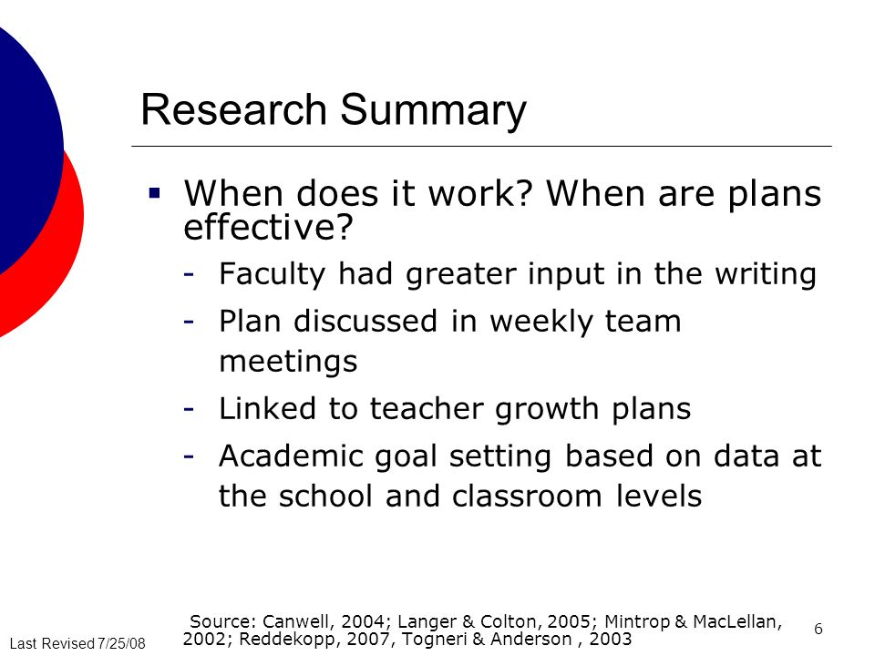 Last Revised 7/25/08 6 Research Summary When does it work? When are plans effective? -Faculty had greater input in the writing -Plan discussed in week