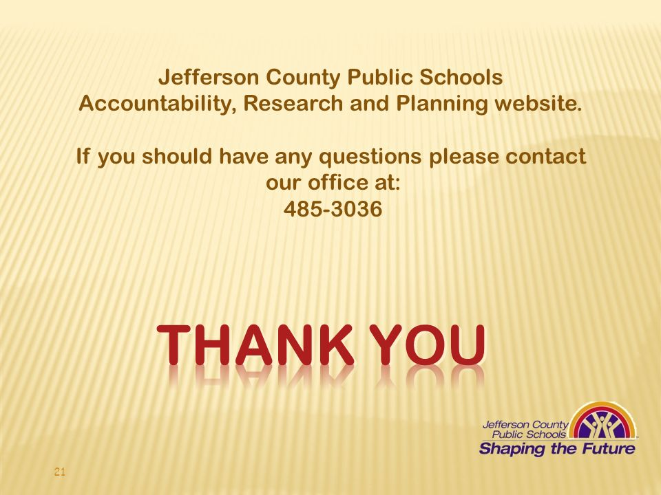 Jefferson County Public Schools Accountability, Research and Planning website.