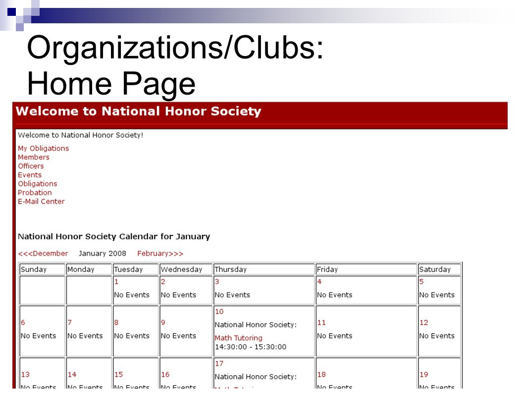 Organizations/Clubs: Home Page