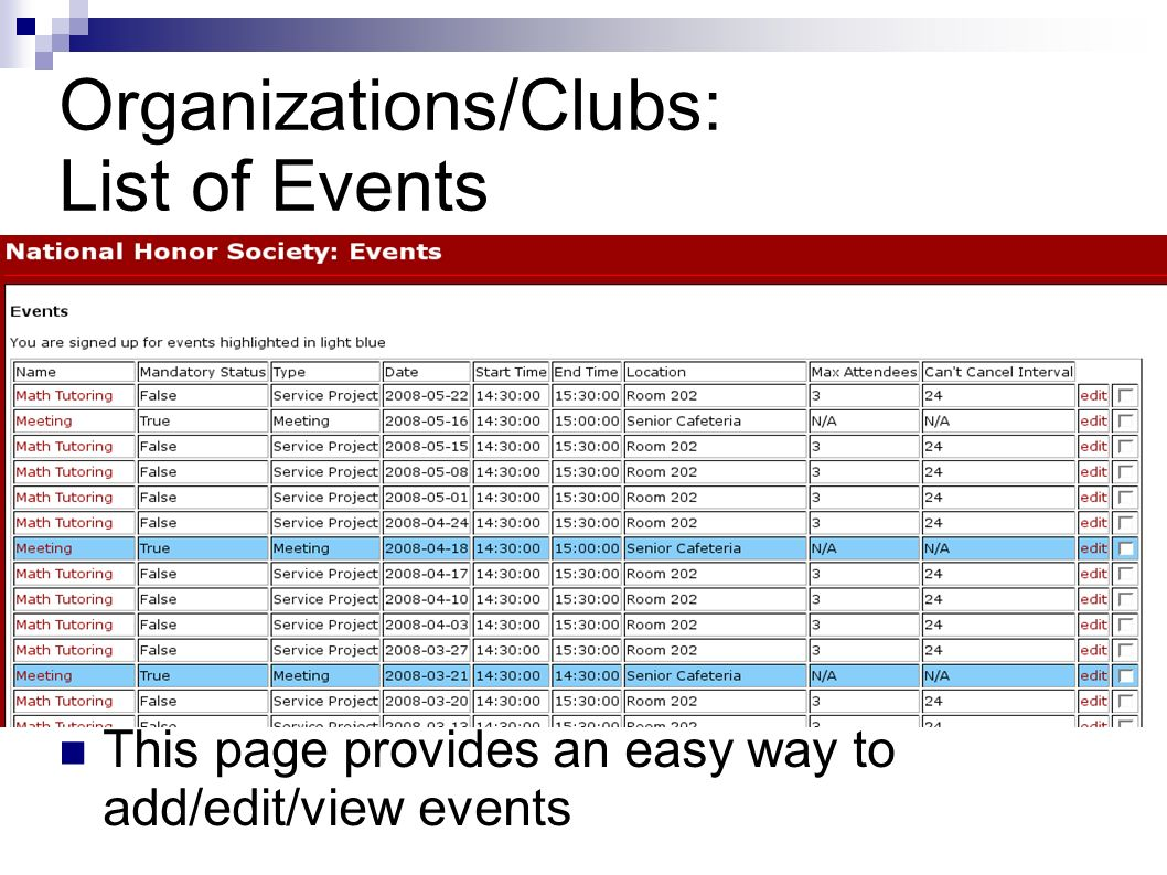 Organizations/Clubs: List of Events This page provides an easy way to add/edit/view events