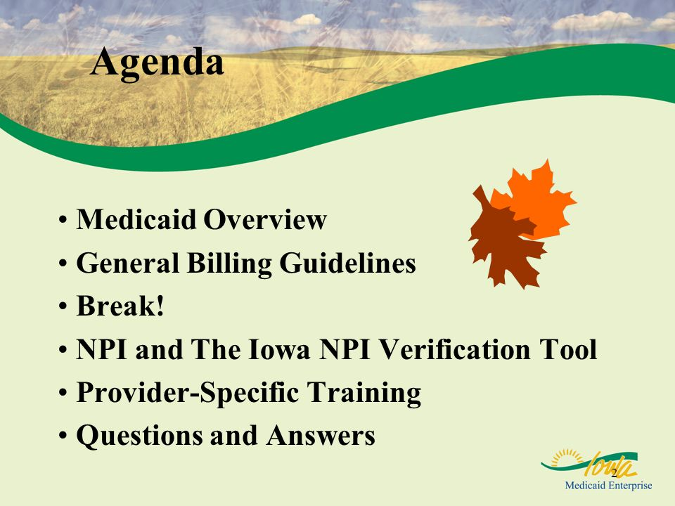 2 Agenda Medicaid Overview General Billing Guidelines Break! NPI and The Iowa NPI Verification Tool Provider-Specific Training Questions and Answers
