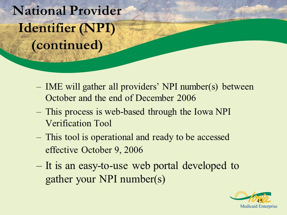 45 National Provider Identifier (NPI) (continued) –IME will gather all providers NPI number(s) between October and the end of December 2006 –This proc