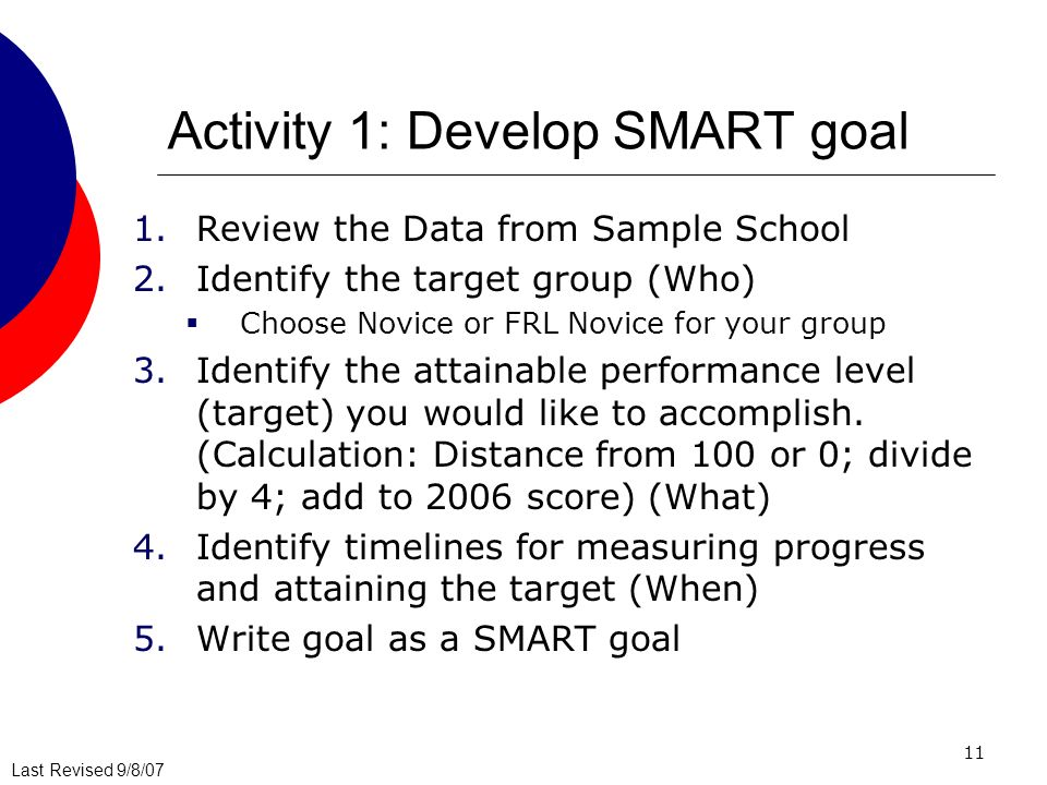 Last Revised 9/8/07 11 Activity 1: Develop SMART goal 1.Review the Data from Sample School 2.Identify the target group (Who) Choose Novice or FRL Novice for your group 3.Identify the attainable performance level (target) you would like to accomplish.