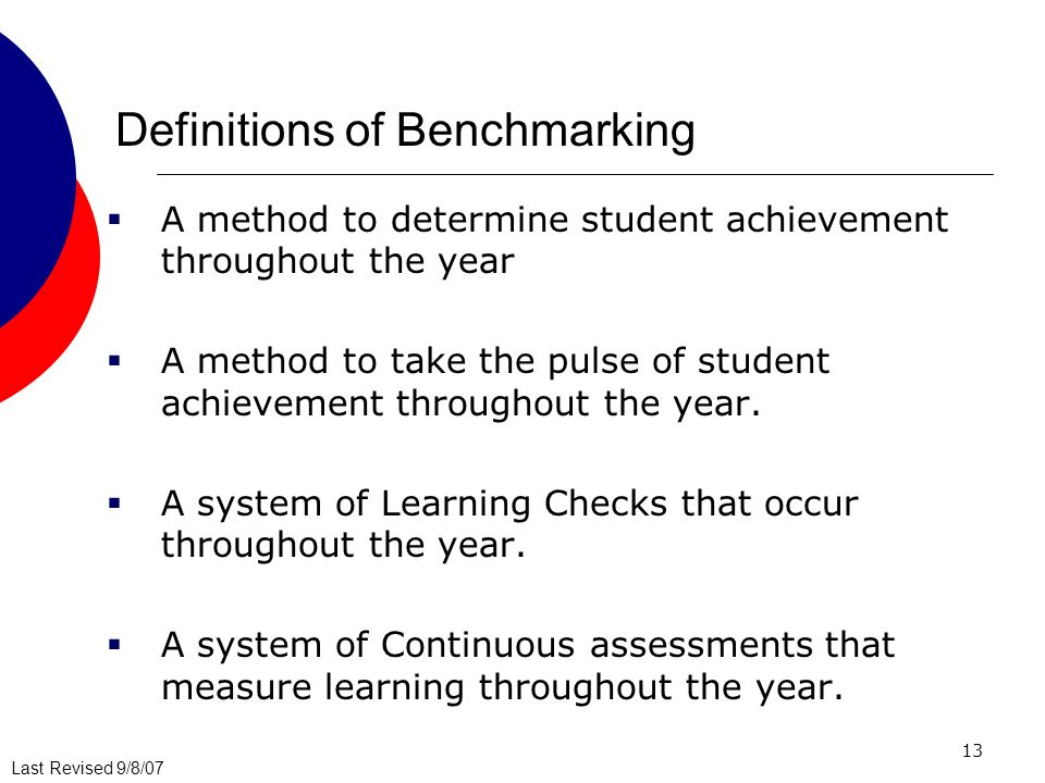 Last Revised 9/8/07 13 Definitions of Benchmarking A method to determine student achievement throughout the year A method to take the pulse of student achievement throughout the year.