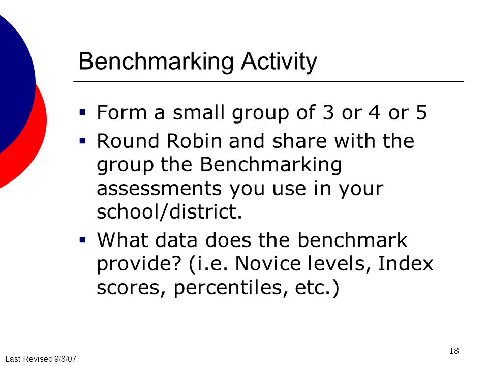 Last Revised 9/8/07 18 Benchmarking Activity Form a small group of 3 or 4 or 5 Round Robin and share with the group the Benchmarking assessments you use in your school/district.