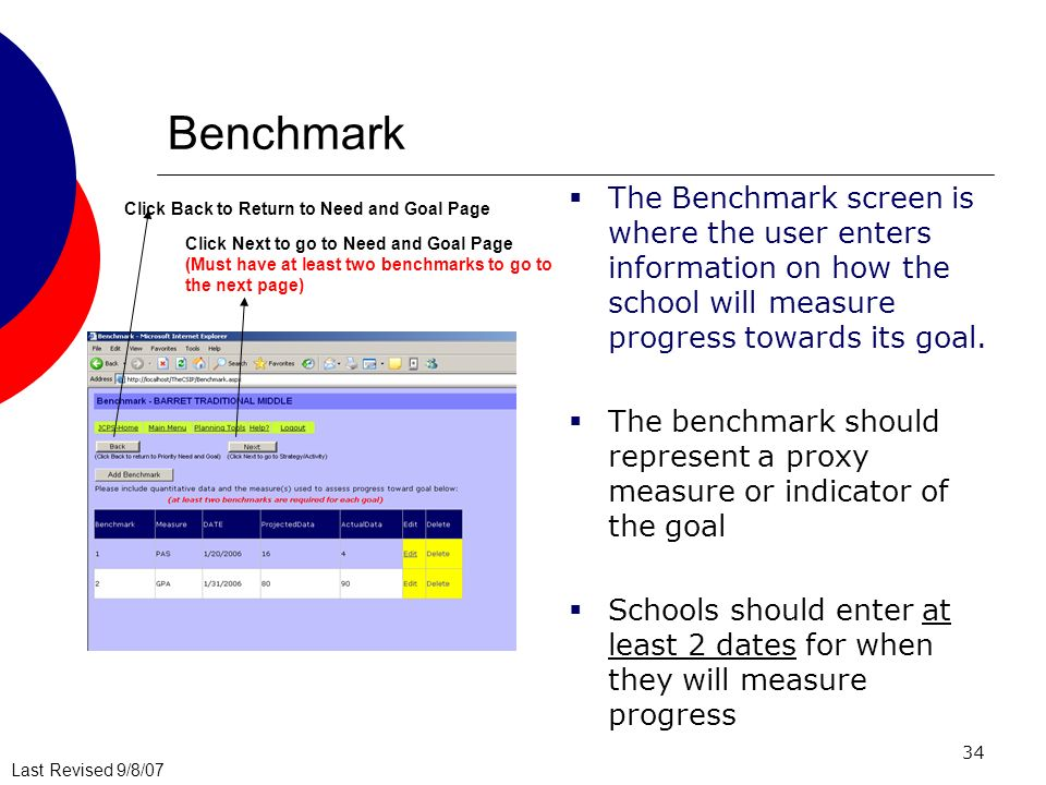 Last Revised 9/8/07 34 Benchmark The Benchmark screen is where the user enters information on how the school will measure progress towards its goal.