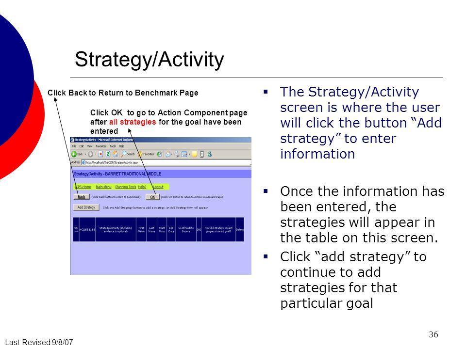 Last Revised 9/8/07 36 Strategy/Activity The Strategy/Activity screen is where the user will click the button Add strategy to enter information Once the information has been entered, the strategies will appear in the table on this screen.
