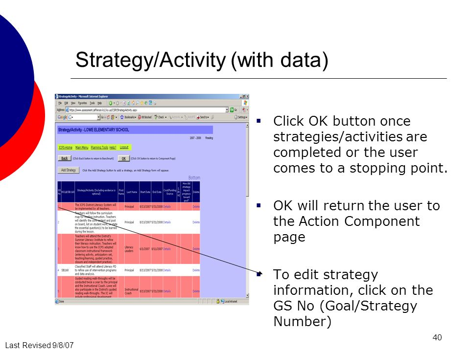 Last Revised 9/8/07 40 Strategy/Activity (with data) Click OK button once strategies/activities are completed or the user comes to a stopping point.