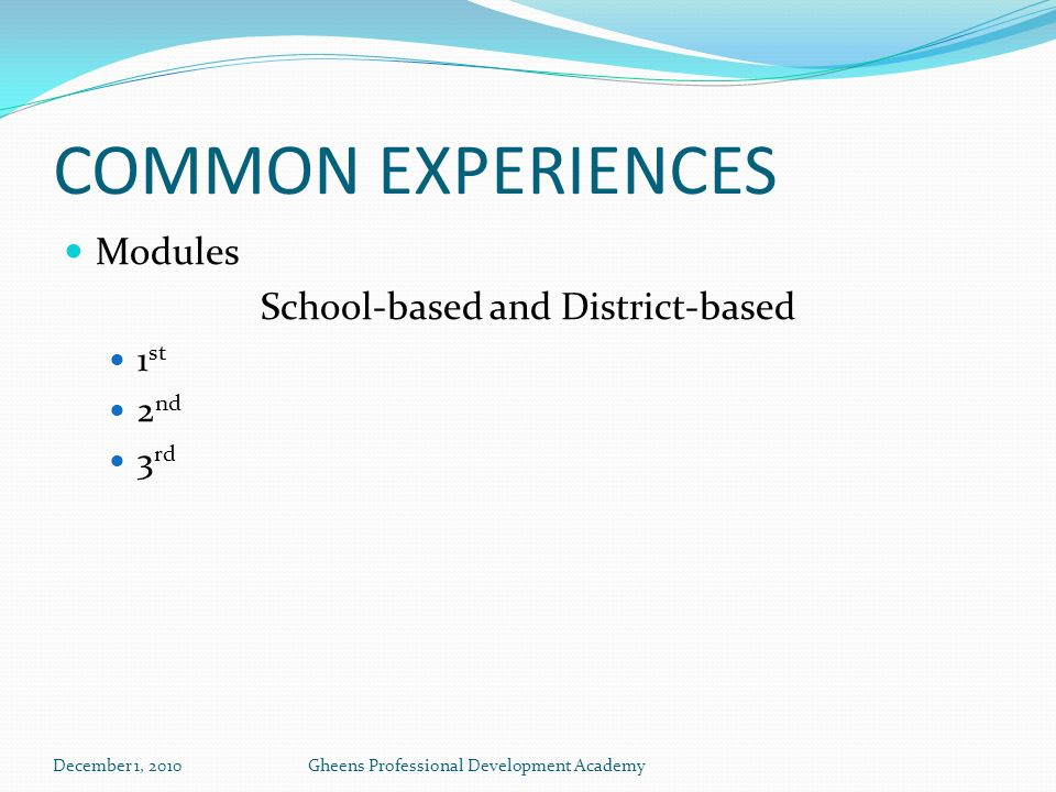 COMMON EXPERIENCES Modules School-based and District-based 1 st 2 nd 3 rd December 1, 2010Gheens Professional Development Academy