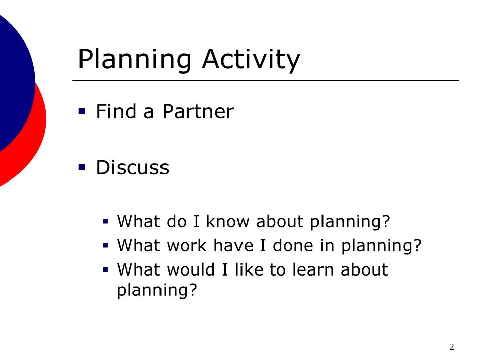 2 Planning Activity Find a Partner Discuss What do I know about planning.