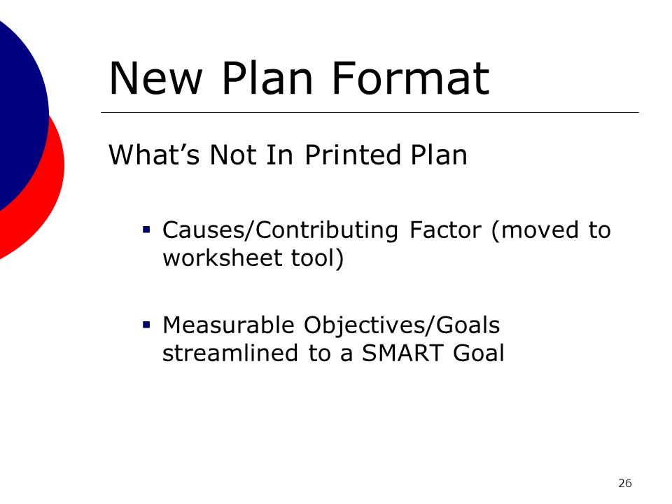 26 New Plan Format Whats Not In Printed Plan Causes/Contributing Factor (moved to worksheet tool) Measurable Objectives/Goals streamlined to a SMART Goal