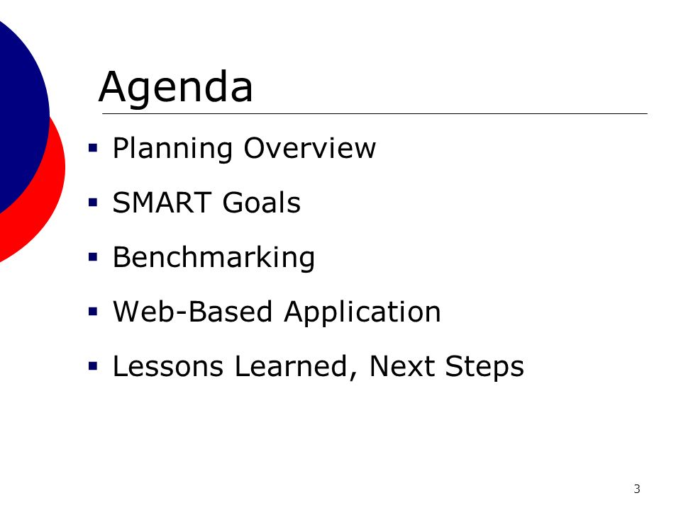 3 Agenda Planning Overview SMART Goals Benchmarking Web-Based Application Lessons Learned, Next Steps