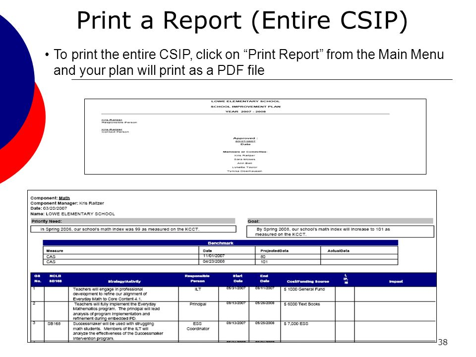 38 Print a Report (Entire CSIP) To print the entire CSIP, click on Print Report from the Main Menu and your plan will print as a PDF file