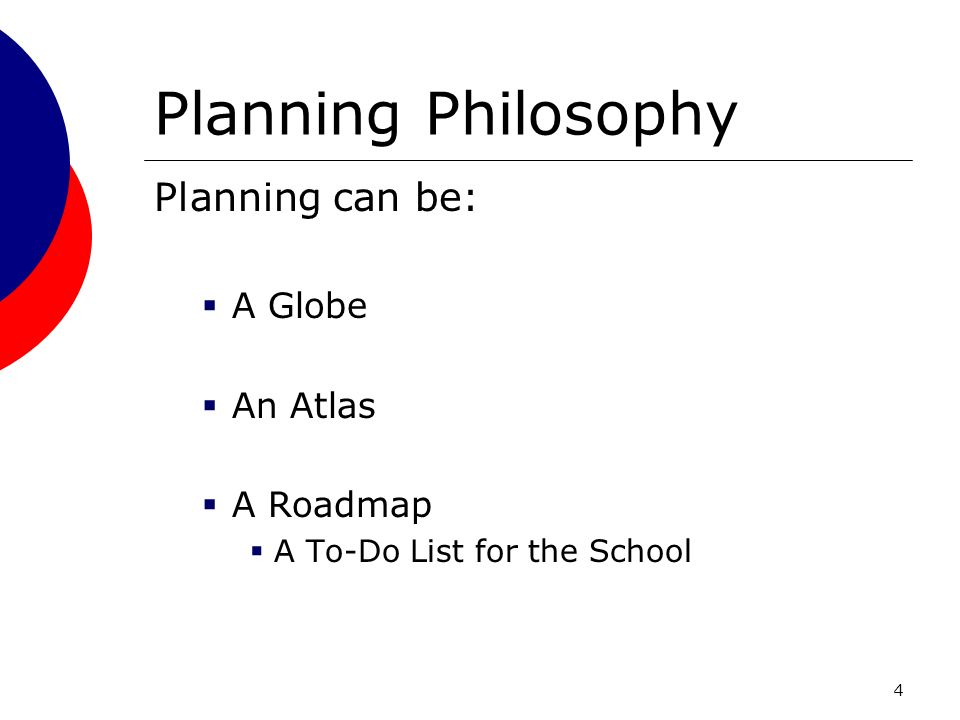 4 Planning Philosophy Planning can be: A Globe An Atlas A Roadmap A To-Do List for the School