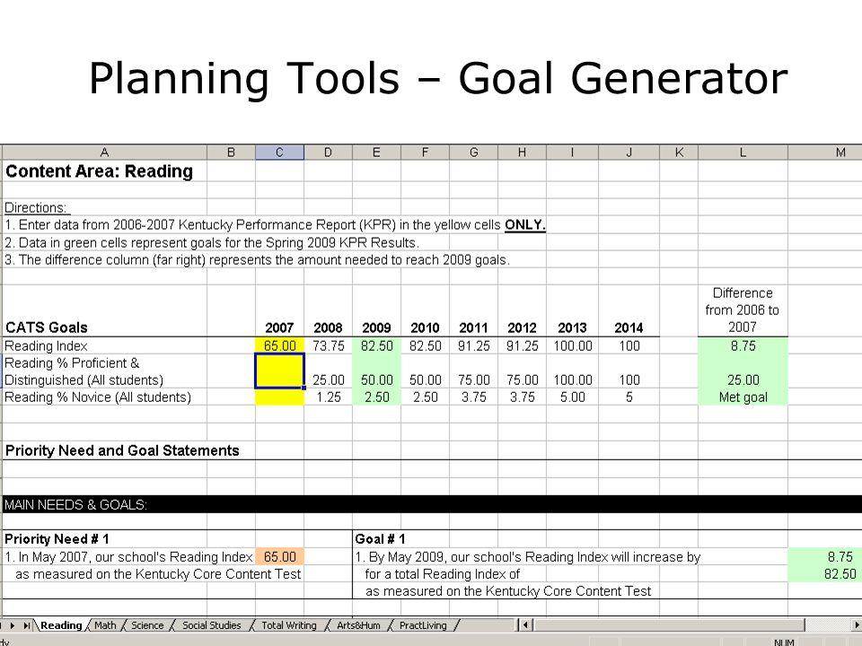 Planning Tools – Goal Generator