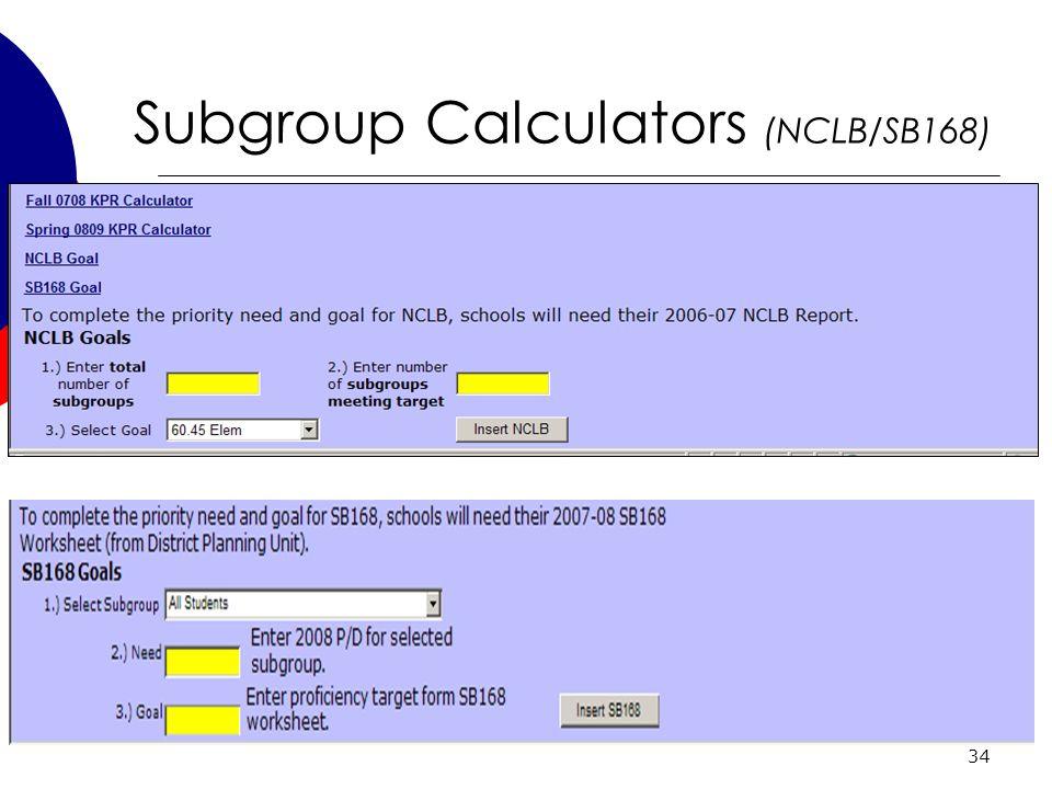 34 Subgroup Calculators (NCLB/SB168)