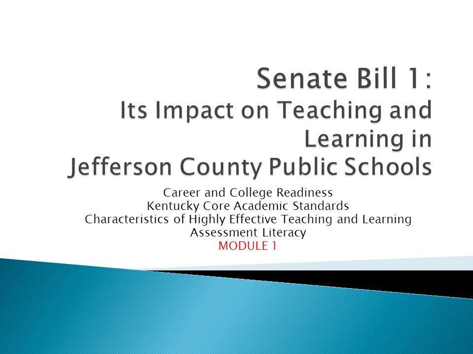 Understand the reasons for Senate Bill 1 Begin to understand the implications of Senate Bill 1 for teaching and learning College and Career Readiness Kentucky Core Academic Standards Highly Effective Teaching and Learning Assessment Literacy Learn about the plan for preparing the district to implement Senate Bill 1 Common Language 2