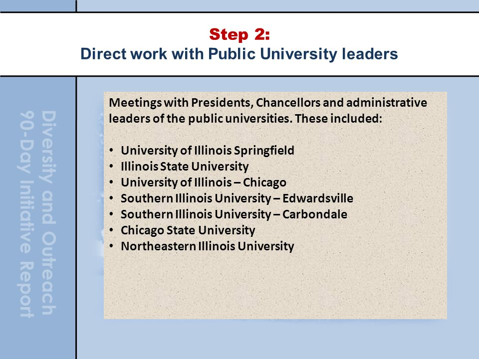 Diversity and Outreach 90-Day Initiative Report Step 2: Direct work with Public University leaders Meetings with Presidents, Chancellors and administrative leaders of the public universities.