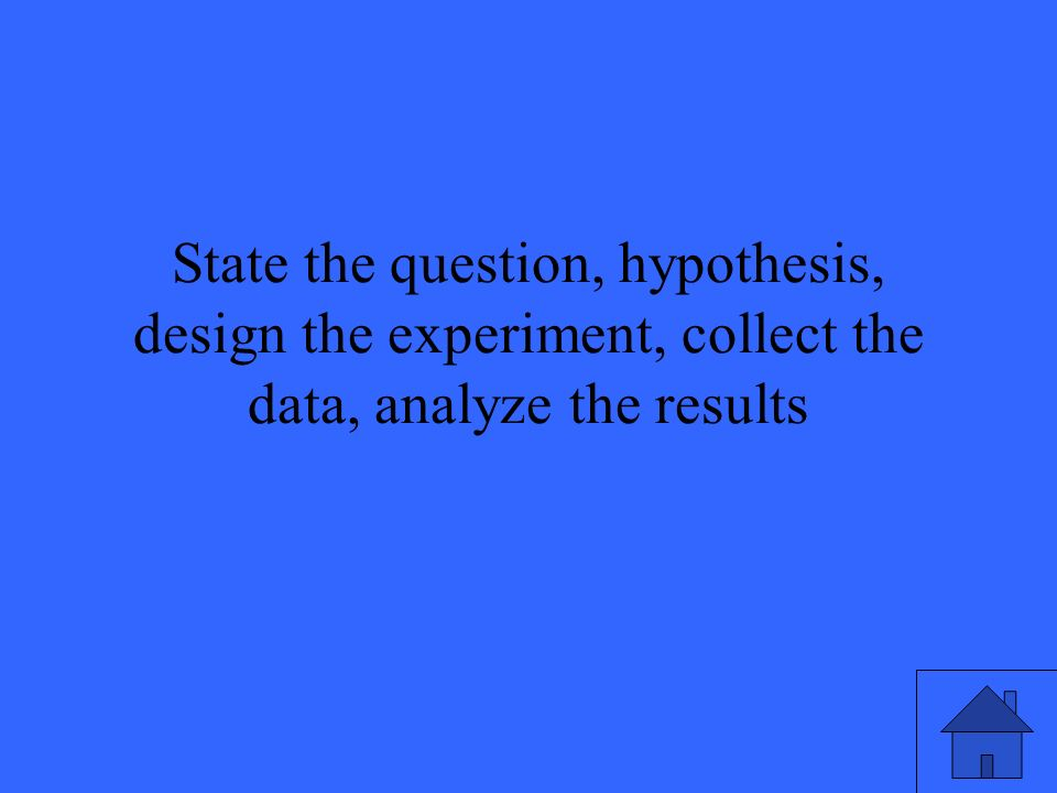 State the question, hypothesis, design the experiment, collect the data, analyze the results