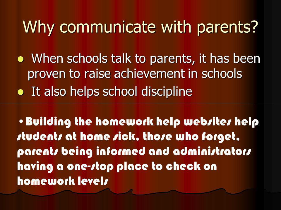 Why communicate with parents.