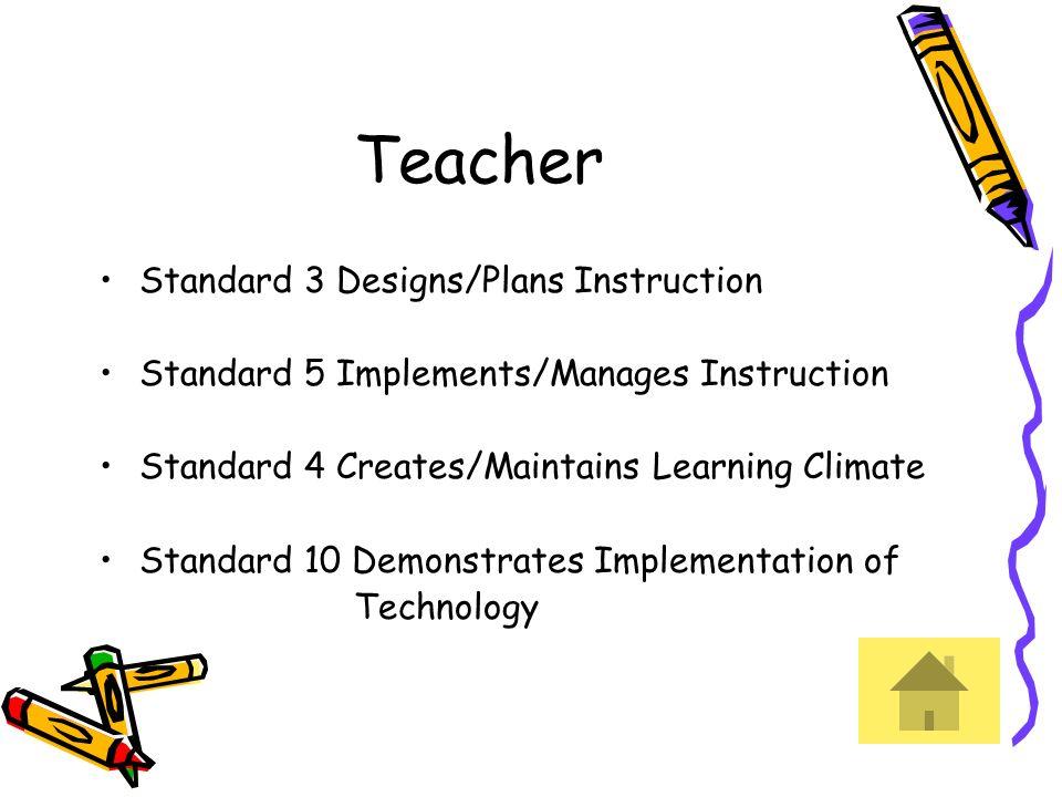 Teacher Standard 3 Designs/Plans Instruction Standard 5 Implements/Manages Instruction Standard 4 Creates/Maintains Learning Climate Standard 10 Demon