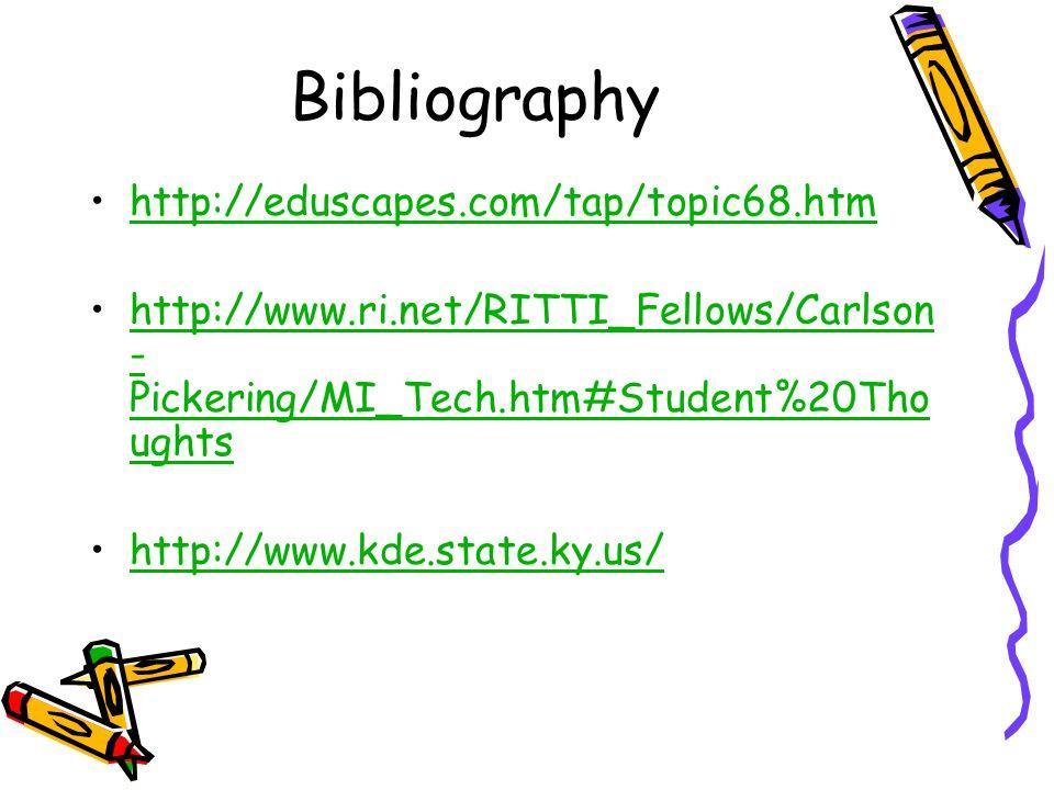 Bibliography http://eduscapes.com/tap/topic68.htm http://www.ri.net/RITTI_Fellows/Carlson - Pickering/MI_Tech.htm#Student%20Tho ughtshttp://www.ri.net