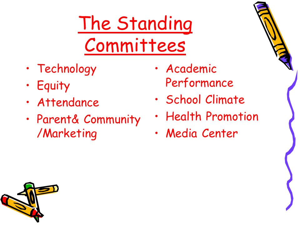 The Standing Committees Technology Equity Attendance Parent& Community /Marketing Academic Performance School Climate Health Promotion Media Center