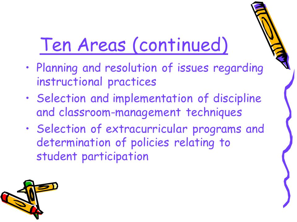 Ten Areas (continued) Planning and resolution of issues regarding instructional practices Selection and implementation of discipline and classroom-management techniques Selection of extracurricular programs and determination of policies relating to student participation