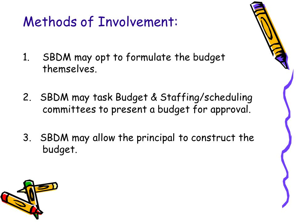 Methods of Involvement: 1.SBDM may opt to formulate the budget themselves.