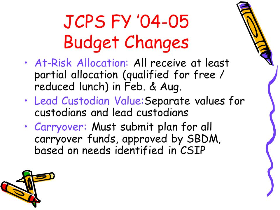 JCPS FY 04-05 Budget Changes At-Risk Allocation: All receive at least partial allocation (qualified for free / reduced lunch) in Feb.