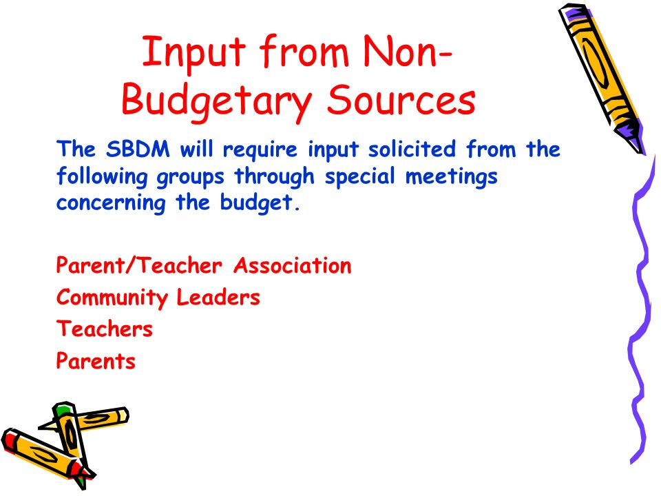 Input from Non- Budgetary Sources The SBDM will require input solicited from the following groups through special meetings concerning the budget.