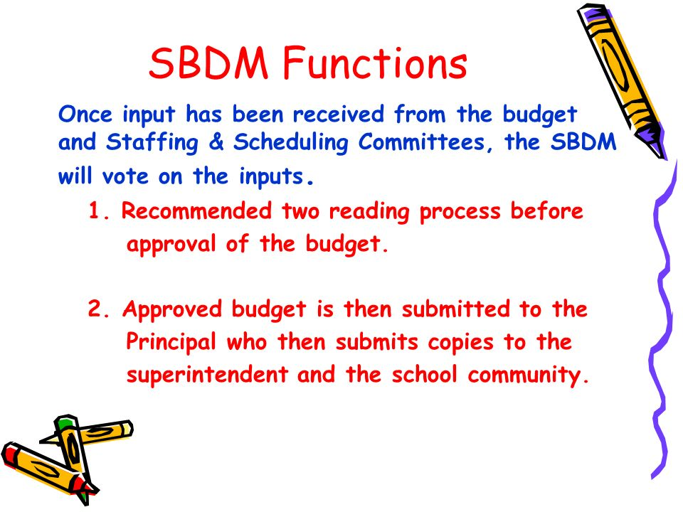 SBDM Functions Once input has been received from the budget and Staffing & Scheduling Committees, the SBDM will vote on the inputs.