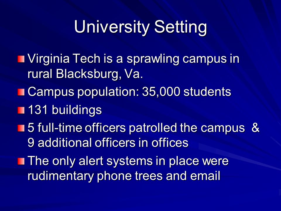 University Setting Virginia Tech is a sprawling campus in rural Blacksburg, Va. Campus population: 35,000 students 131 buildings 5 full-time officers